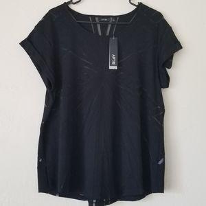 Black tshirt with geometric mesh pattern